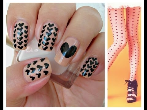 Nail Art - Black Hearts
