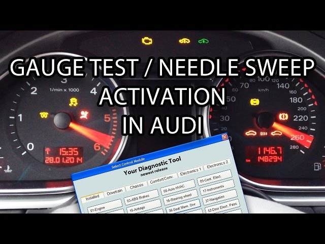 How to activate Audi needle sweep / gauge test ... - YouTube