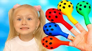 Diana Pretend Play with Balloons and Finger family song