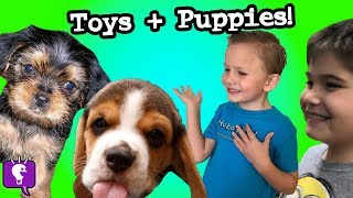 We Visit Adorable PUPPIES and a Toy Store! HobbyVloggy by HobbyKids