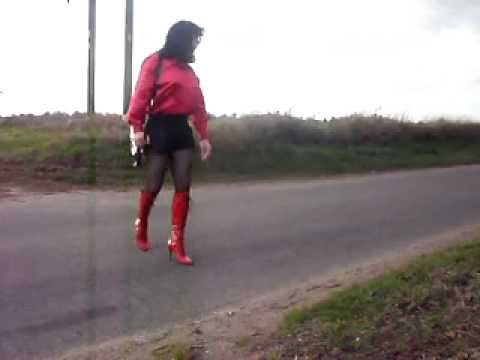Crossdresser in satin shorts in public