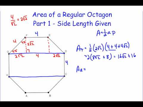 Area Of A Regular Octagon Part 1 Youtube