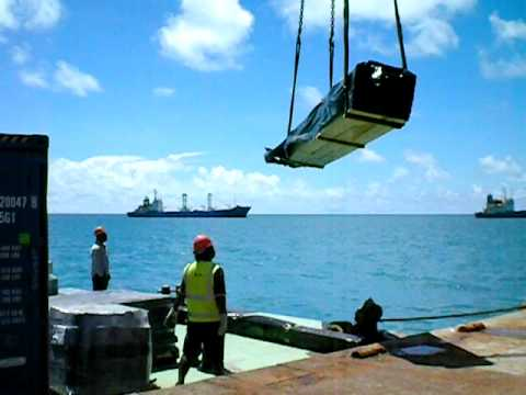 Tarawa 18 05 09 Unloading Break Bulk from Ship to Literage Barge