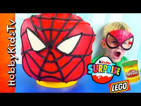 Play-doh Giant Lego Head Spider Man Makeover! Kinder Surprise Egg, Batman, Lego Emmet Hobbykidstv video