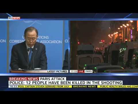UN Secretary-General Ban Ki-Moon Condemns Paris Attack