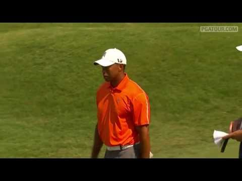 TIger Woods birdies No. 9 in Round 1 of THE PLAYERS