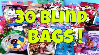 30 Blind Bags Opening Toys Peanuts SHopkins Num Noms Disney Barbie Trolls MLP Care Bears Mickey Minn