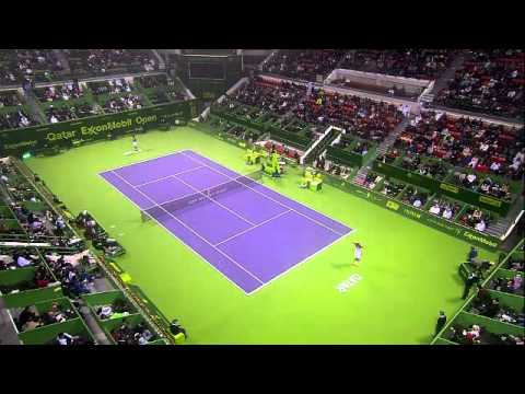 Qatar ExxonMobil Open from Doha. An ATP 250 Tournament. The finals matchup between Frenchman Jo-Wilfired Tsonga and fellow countrymen Gael Monfils.