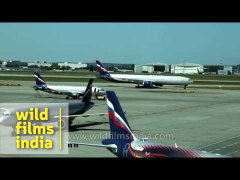 Aeroflot planes taking off and taxiing on runway at Seremetyevo airport, Moscow