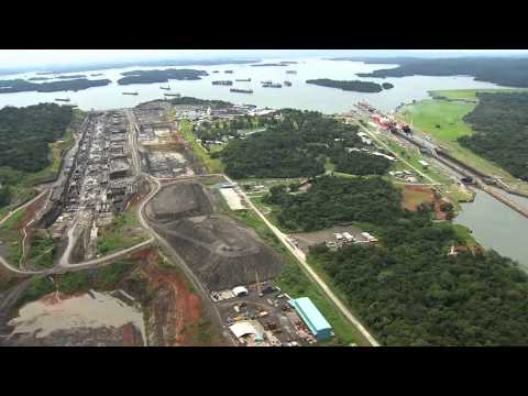 Aerial view of the Panama Canal Expansion from the Atlantic side.