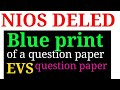 blue print of a question paper & question paper of EVS ।। nios deled।। Mohan verma।।