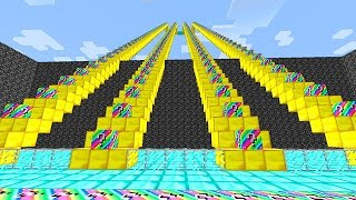 LUCKY RAINBOW BLOCKS STAIRCASE MOD CHALLENGE - MINECRAFT MODDED MINI-GAME!
