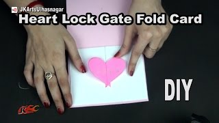 DIY Heart Lock Gate Fold Card for Scrapbook | How To Make  | JK Arts  1045