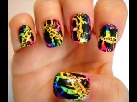 Lisa Frank Inspired Nail Series - Rainbow Crackle