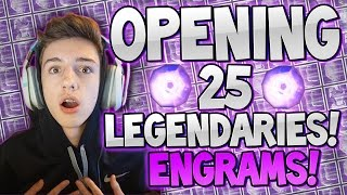 Destiny : OPENING 25 LEGENDARY ENGRAMS LIVE/wFACE!! (So Many Legendaries!)