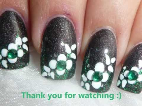 NAIL ART TUTORIAL - EASY FLOWER DESIGN WITH RHINESTONES