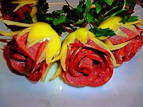 HOW BEAUTIFUL CUT TOMATOES, PEPPER AND SAUSAGE! DECORATION OF VEGETABLES!