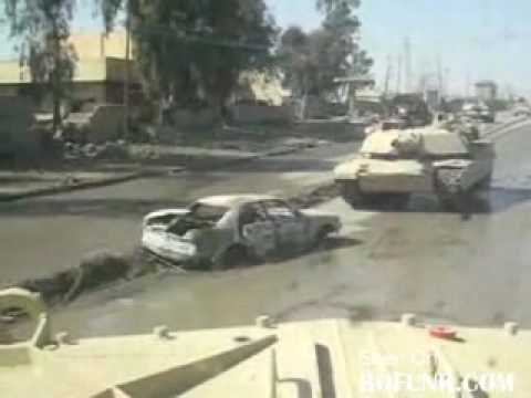 Abrams Tank Drives over Car Bomb