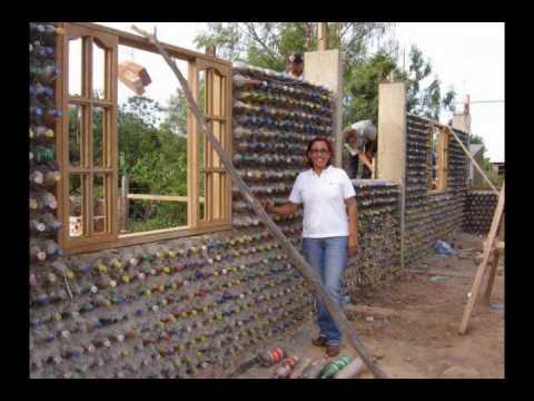 Construcciones o casas de PET botellas de plastico en el papelote tv de Villaflores, chiapas pet