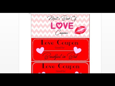 How to make custom Love Coupon Book with MS Word and a browser