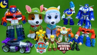 Surprise Paw Patrol and Transformers Rescue Bots Tracker Everest Heatwave Bumblebee LOTS of Toys!