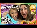 MAKING SLIME IN THE GROCERY STORE CHALLENGE | We Are The Davises