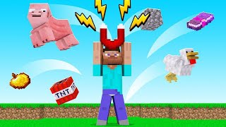 Using A SUPER STRONG Magnet In MINECRAFT! (attracting everything)