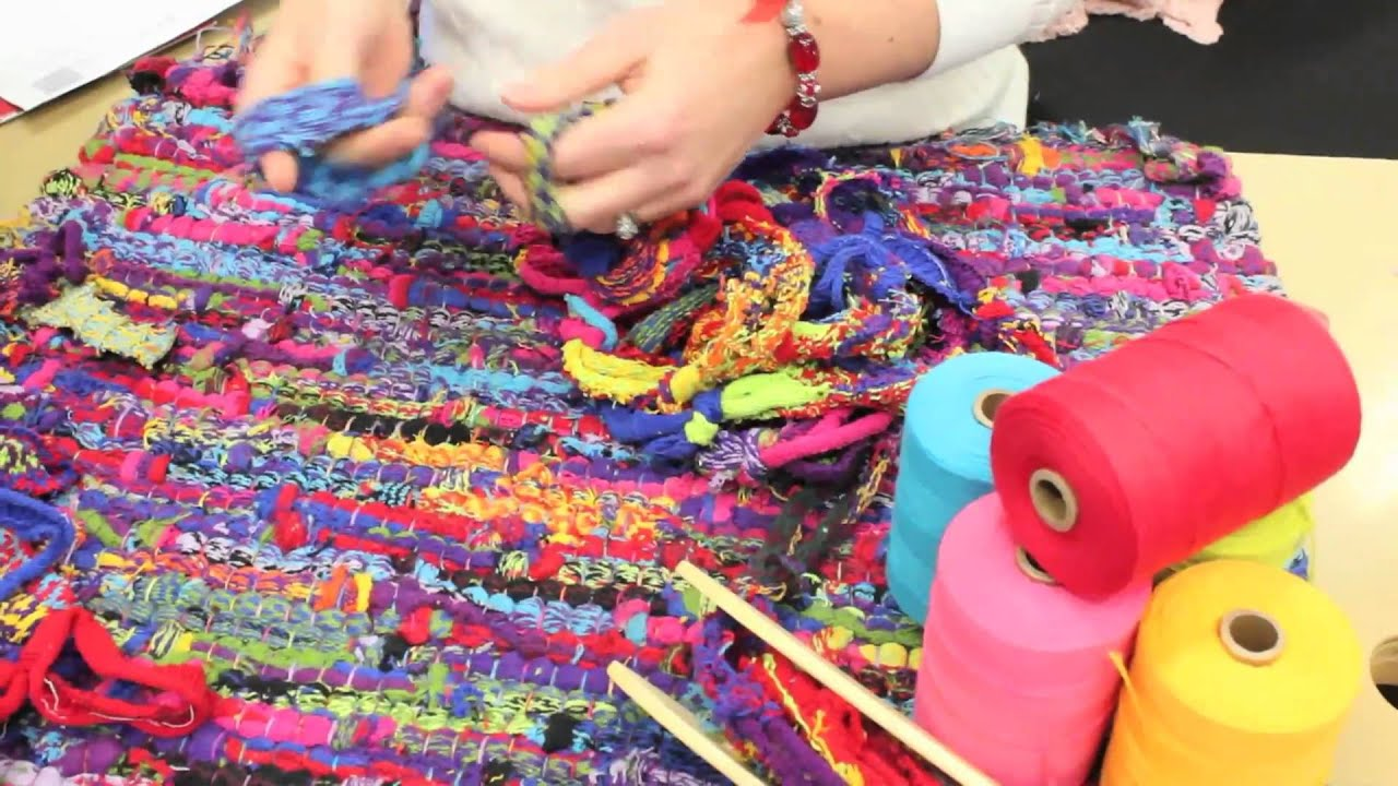 Looping Together Sock Loops To Make Weft For A Rag Rug