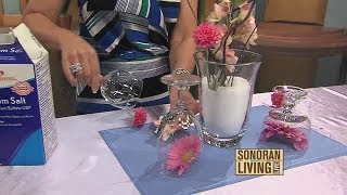 DIY centerpieces made from glass containers