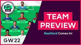 FPL TEAM SELECTION: GW22 | Rashford Comes In! | Gameweek 22 | Fantasy Premier League 2018/19