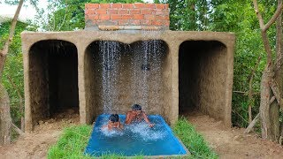 Build waterfall on hobbit-house fall in to swimming Pool