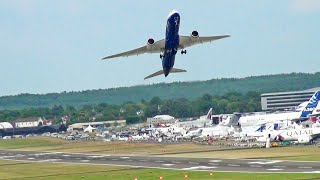 STEEPEST 🚀 Rocket Like Boeing 787-9 Dreamliner Takeoff, Farnborough Airshow.