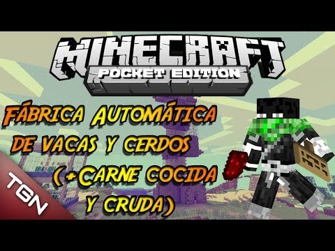 Fábrica Automática de Vacas y Cerdos (+Carne)   Alternativa RedStone #14   Minecraft Pocket Edition