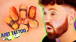 Matthew Gives His Fish Loving Friend A Sushi Tattoo?! | Most Baffling Tattoos | Just Tattoo Of Us
