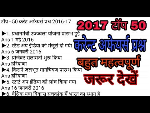 2017 50 Most Imp Current Affairs Questions Ssc Mp Si