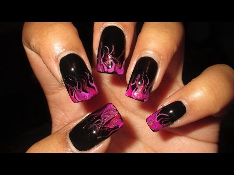 Radiant Orchid Drag Marble Flames Nail Art Tutorial