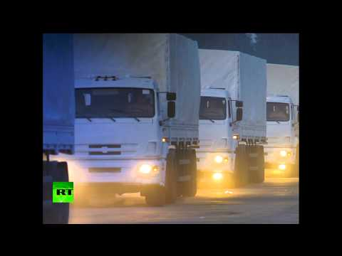 RAW: 280 trucks with Russian humanitarian aid depart to E. Ukraine