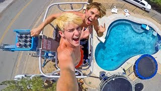 40FT CRANE HIGH DIVE INTO OUR POOL! Ft  Tanner Braungardt!