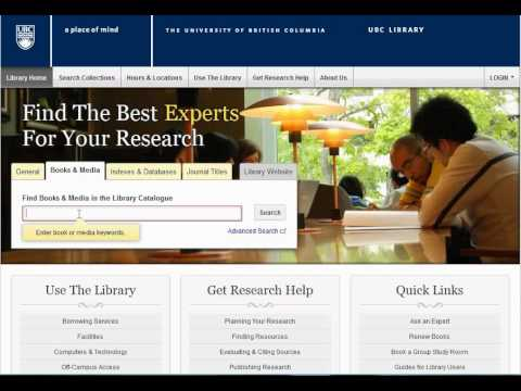 Books & Media: Basic Search in the UBC Library Catalogue