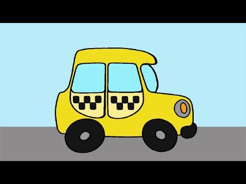 Машинка ТАКСИ. Раскраски с Веселым Медвежонком. Развивающие Мультики для Малышей.