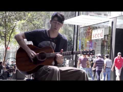 Epic Guitar Player. Awesome Street Performer