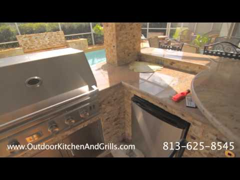 Gold Travertine Pool Deck and Patio with Travertine Split Face outdoor kitchen & waterfall