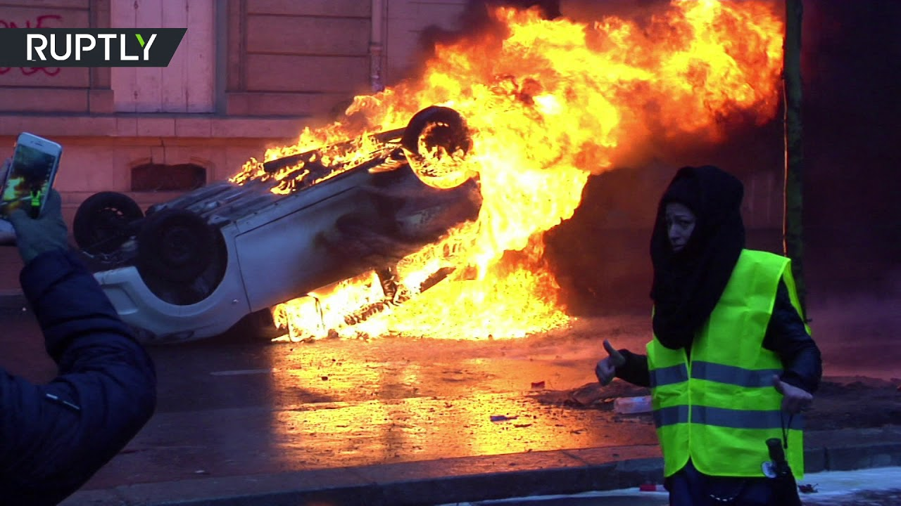 Paris in flames during Yellow Vest protests
