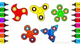 How to Draw Spinners - Coloring Pages Videos for kids - Learning Drawing & Play-Doh