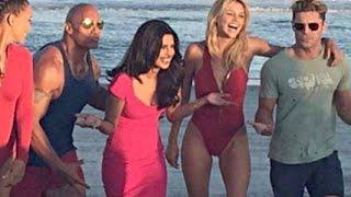Priyanka Chopra Beach Fun With Dwayne Johnson And Zac Efron