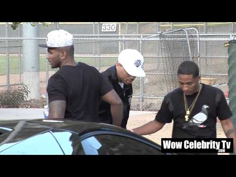 Chris Brown arrives to celebrity kickball game in Glendale