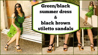 Crossdresser - green black summer dress and black high heels sandals | NatCrys