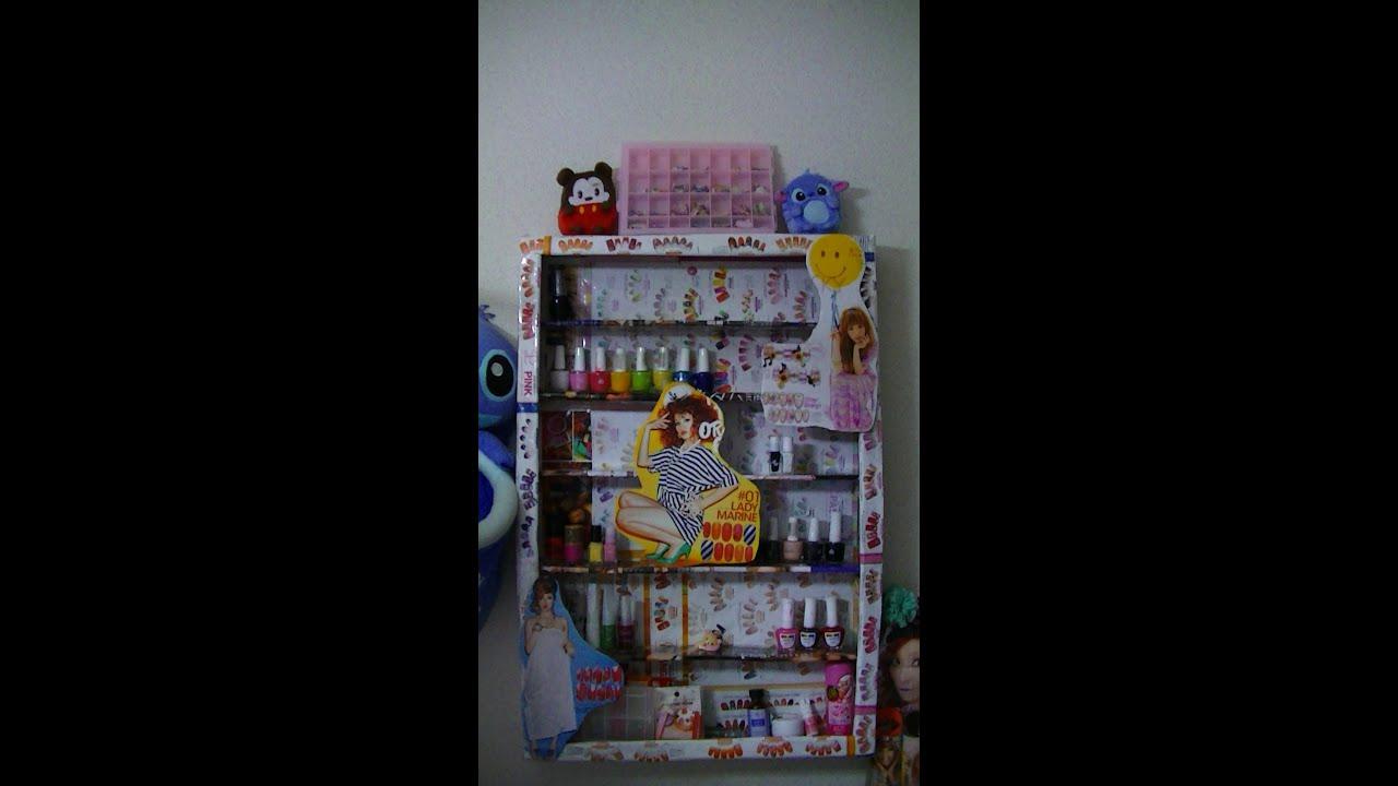 Organizador para esmaltes con material reciclado youtube for Muebles con material reciclado