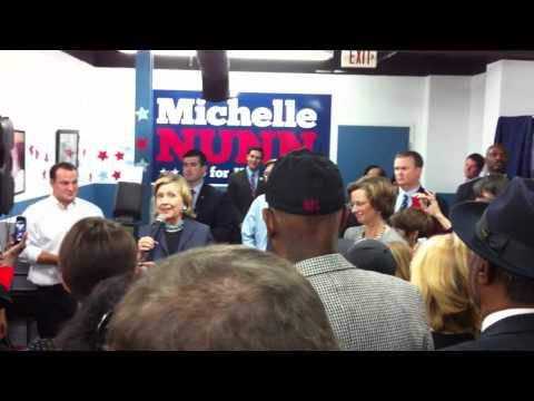 Hillary Clinton Drops by Michelle Nunn HQ