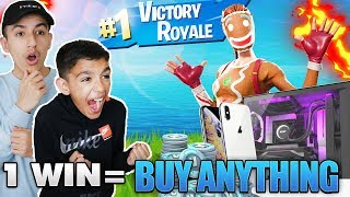 If My Little Brother Wins A Fortnite Game I Will Buy Him Anything He Wants!